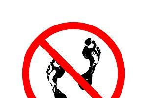 Do not step, red forbidden sign
