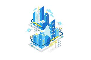 Smart city data center isometric