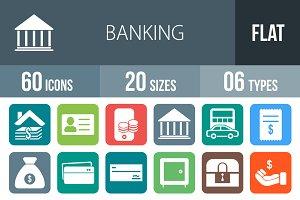 60 Banking Flat Round Corner Icons