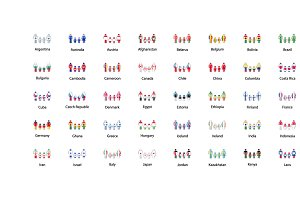 People icons with flags