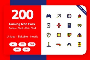 200 Gaming Icon Pack