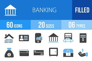 60 Banking Blue & Black Icons