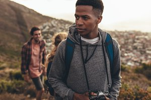 Young people on hiking trip