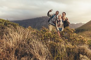 Group of creatives on hiking trip