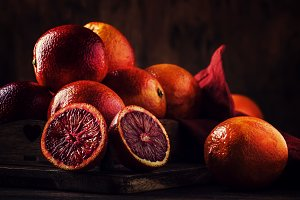 Juicy ripe shiny red bloody oranges