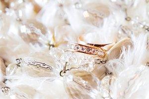 Golden wedding rings with diamonds