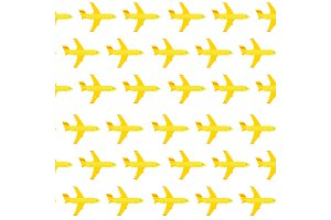 Airplane seamless pattern. Yellow