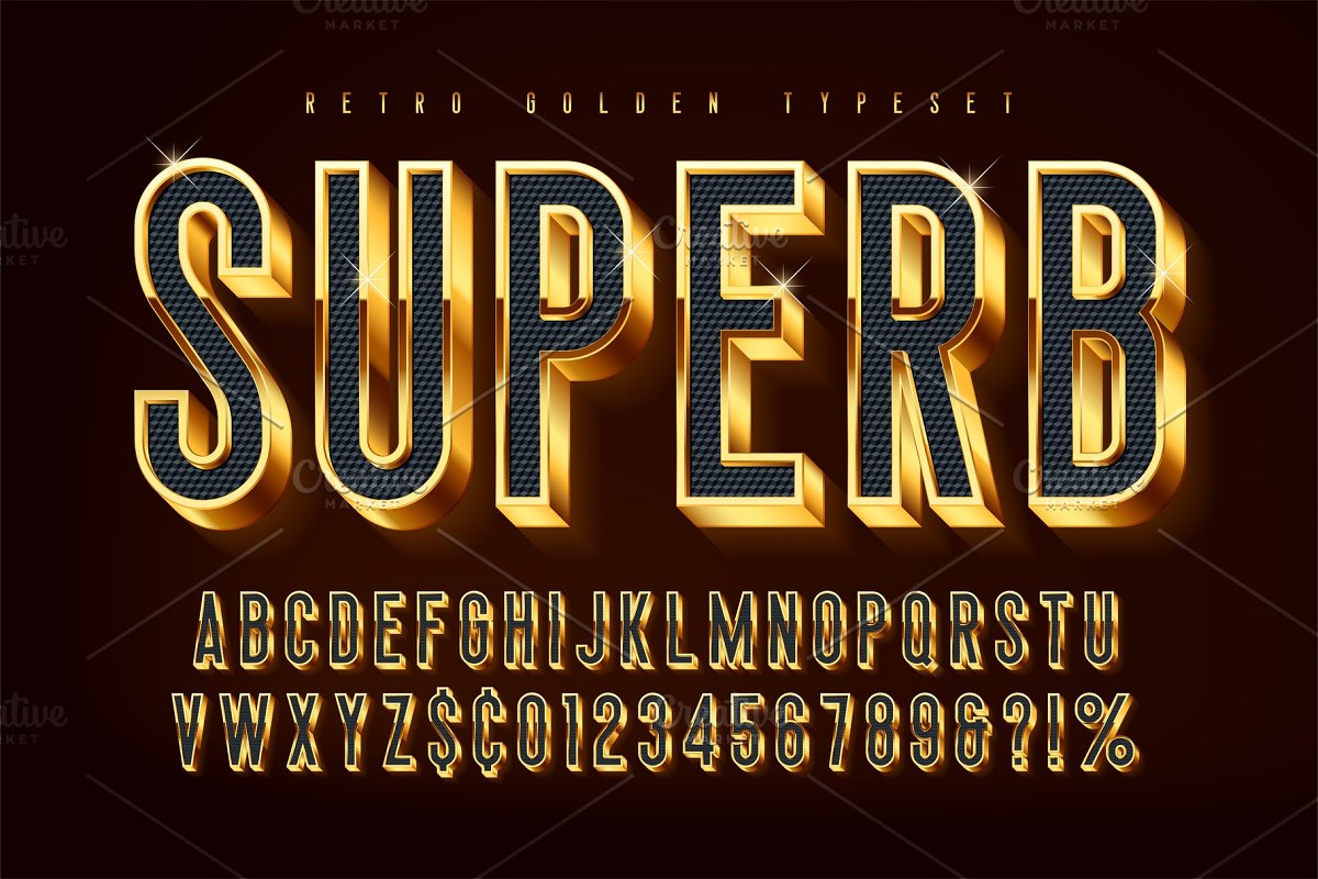 Golden 3d shining font, gold letters