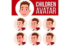 Boy Avatar Set Kid Vector. High