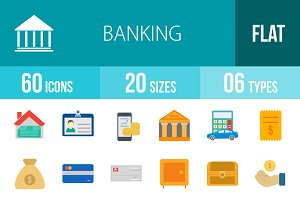 60 Banking Flat Multicolor Icons