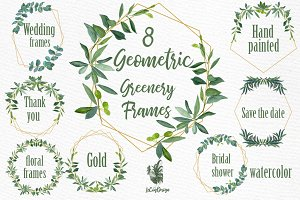 Geometric Frames Greenery clipart