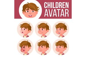 Boy Avatar Set Kid Vector