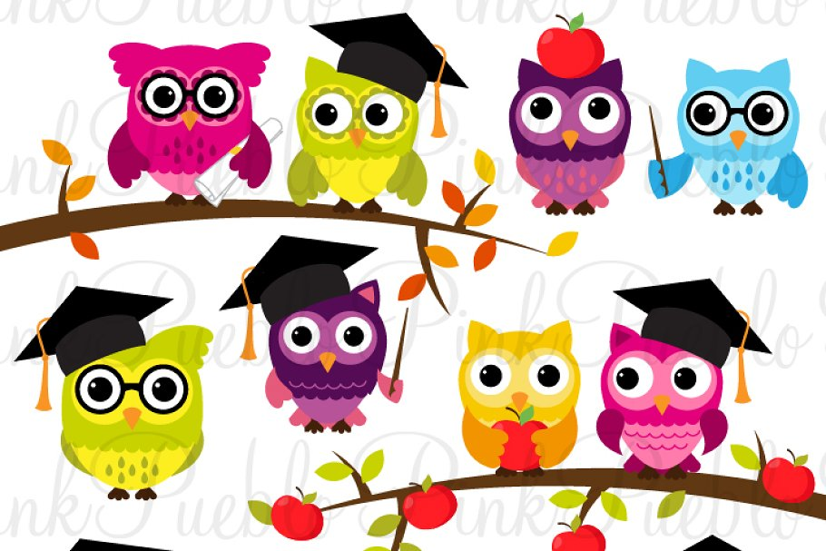 Back to school cute. Owl clipart vectors