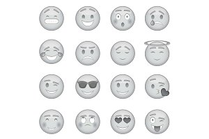 Smiles icons set, monochrome style