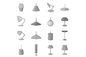 Lamp icons set, monochrome style