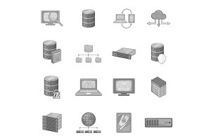 Data base icons set, monochrome