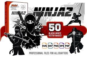 Ninja warrior vector set - 50 images