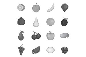 Fruit icons set, monochrome style