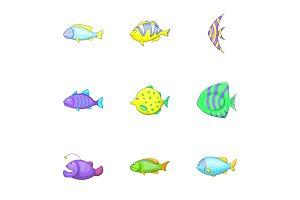 Marine life icons set, cartoon style