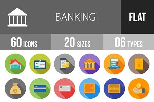 60 Banking Flat Shadowed Icons