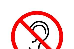 Do not overhear, red forbidden sign