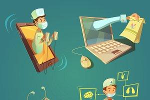 Online doctor cartoon set