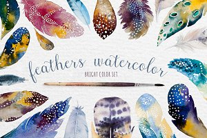 Watercolor feather DIY. BOHO style
