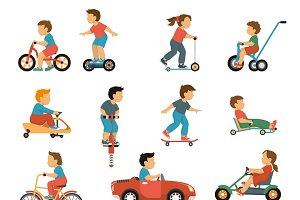 Kids transport icons set