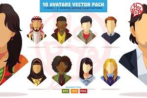 10 Avatars Vector Pack