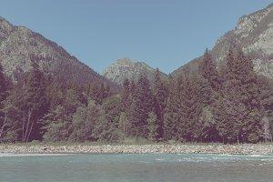 Closeup view river scene in mountain