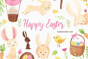 Happy Easter Watercolor Set