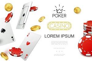 Realistic casino colorful set