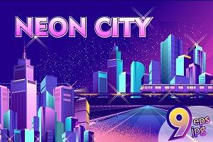 Set of night city landscapes