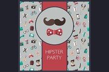 Hipster Flat Design Cards Set