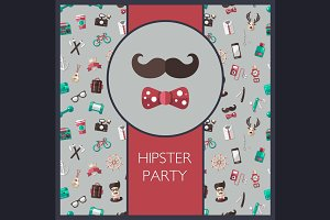 Hipster Flat Design Cards Set