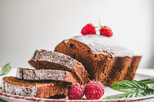 Chocolate cake, fresh berries and