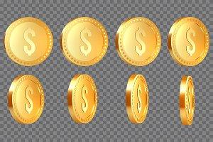 Set of 3d realistic golden metallic