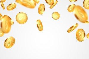 Realistic 3d golden coins explosion.