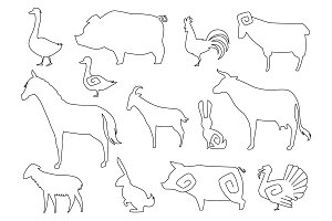 Vector Farm Animals Silhouettes for