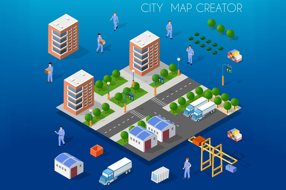City isometric map creator