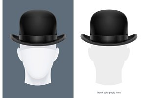 Vintage classic bowler hat. Vector.