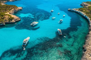 Boats and luxury yachts in the sea