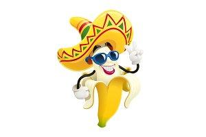 Ripe banana. Tropical fruit. Vector.