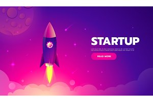 Startup Concept. Rocket launch icon