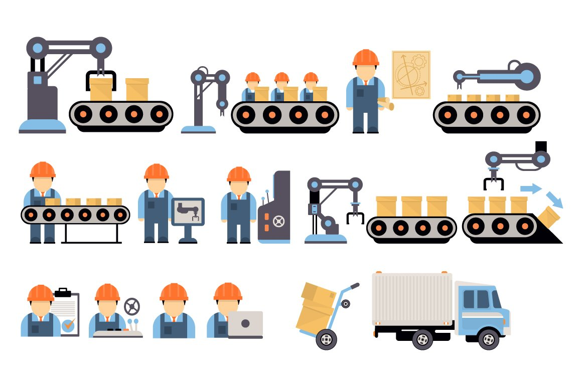 Assembly Icon: Production Process Flat