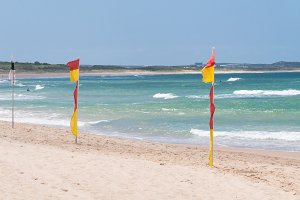 Red and yellow flags on patrolled