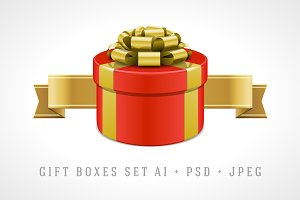 Gift boxes illustration set
