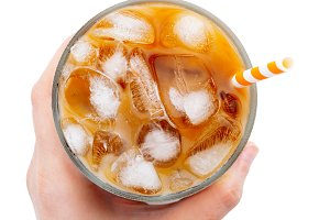 Ice latte with ice cubes isolated on