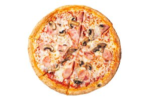 Fresh delicious pizza with ham and m