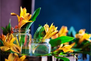 Flower arrangement close-up with